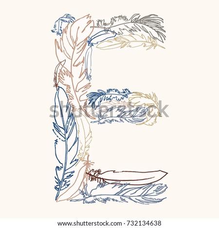 capital letter e  vector hand