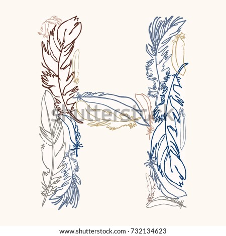 capital letter h  vector hand