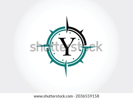 Capital letter Y with Creative Compass Concept Logo Design Template. Compass logo sign symbol. Modern vector logo design for business and company identity. Zdjęcia stock ©