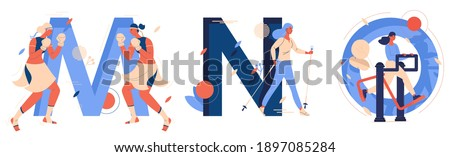 Capital letters M for muay thai, N for nordic walking, o for outdoor gym. Educative collection with creative lettering and women training sports Foto stock ©
