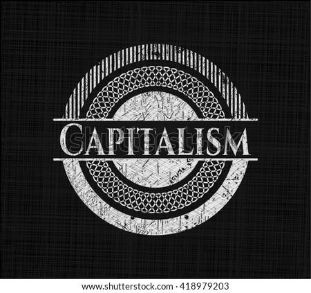 Capitalism chalkboard emblem on black board