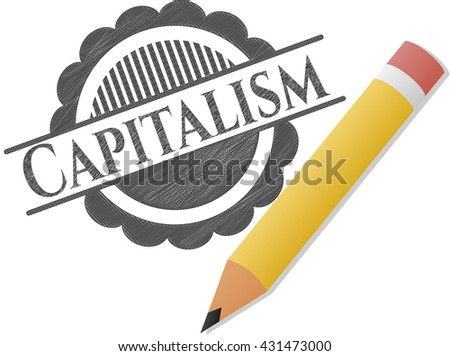 Capitalism emblem draw with pencil effect
