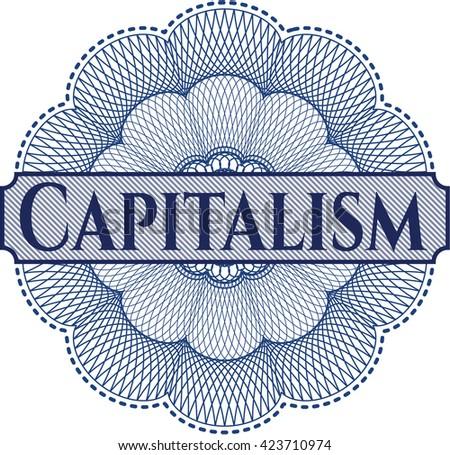 Capitalism inside a money style rosette