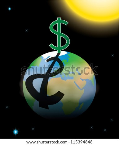 Capitalism symbolized by dollar sign casting shadow over planet Earth, vector illustration