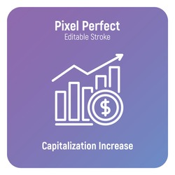 Capitalization increase thin line icon. Graph of growth with dollar sign. Dividends. Pixel perfect, editable stroke. Vector illustration.