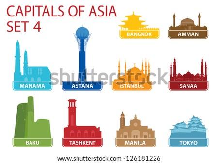 Capitals of Asia. Set 4