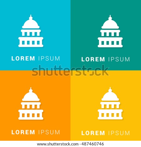 Capitol Building Four Color Material Designed Icon / Logo
