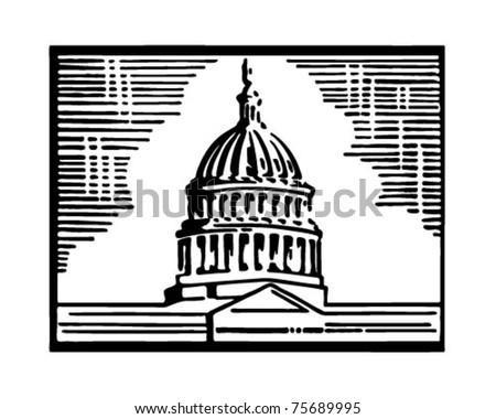 Capitol Building - Retro Ad Art Illustration