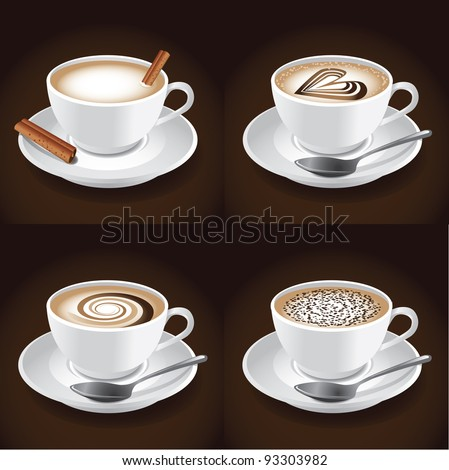 Cappuccino EPS 8 vector, grouped for easy editing. No open shapes or paths.