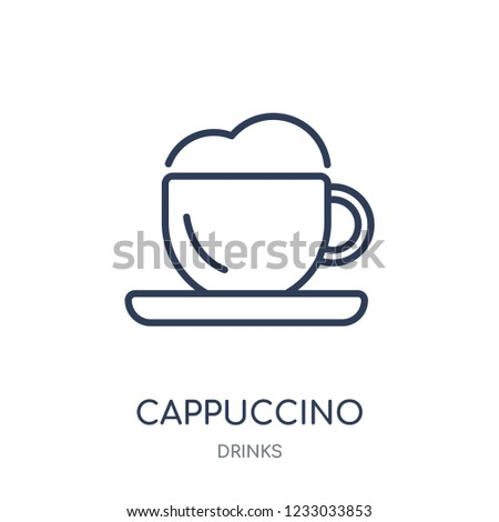 Cappuccino icon. Cappuccino linear symbol design from drinks collection. Simple outline element vector illustration on white background