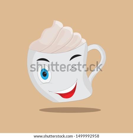 cappuccino smile vector, cappuccino vector