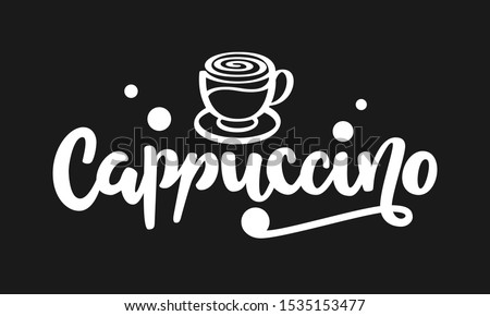 cappuccino text hand drawn