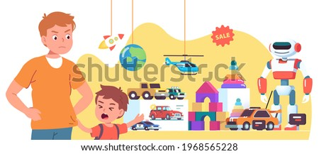 Capricious boy kid crying asking mother to buy robot in toy store window. Angry mom looking strictly at upset son child pointing at toy. Parenting misbehavior problem. Flat vector illustration ストックフォト ©