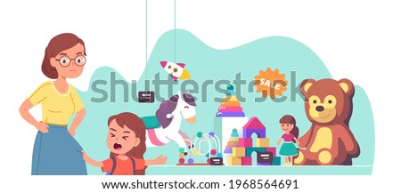 Capricious girl kid crying asking mother to buy teddy bear or doll in store showcase. Angry mom looking strictly at daughter child pointing at toy. Parenting misbehavior. Flat vector illustration ストックフォト ©