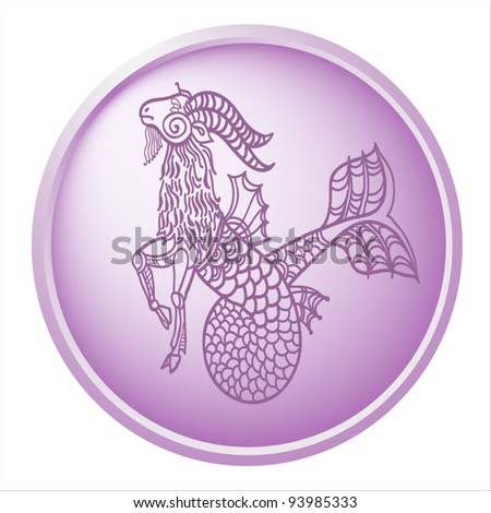 capricorn, button with sign of the zodiac - stock vector