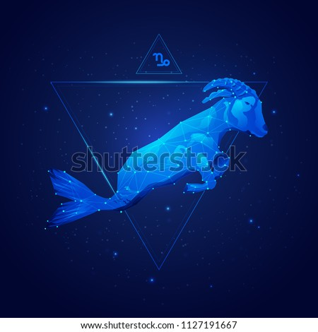 capricorn horoscope sign in twelve zodiac with galaxy stars background, graphic of wireframe goat