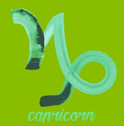 capricorn icon of zodiac, Vector icon. astrological signs, colorful image of horoscope. Watercolour style