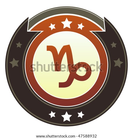 Capricorn zodiac astrology icon on round red and brown imperial vector button with star accents suitable for use on website, in print and promotional materials, and for advertising.
