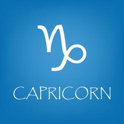 Capricorn zodiac sign icon. Vector simple illustration of Capricorn zodiac sign icon on blue background for any web design