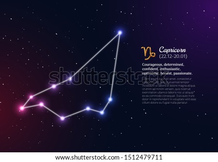 Capricorn zodiacal constellation with bright stars. Capricorn star sign and dates of birth on deep space background. Astrology horoscope with unique positive personality traits vector illustration.