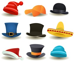 Caps, Top Hats And Other Head wear Set/ Illustration of a set of cartoon top or derby hats, baseball sport winter caps, sombreros and other head wear clothes equipment
