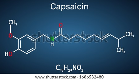Capsaicin,  alkaloid, C18H27NO3 molecule. It is chili pepper extract with non-narcotic analgesic properties. Structural chemical formula on the dark blue background. Vector illustration Stock photo ©