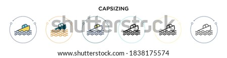 capsizing icon in filled  thin
