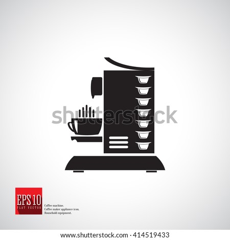 Capsule coffee machine side view vector icon with coffee capsules and cup. Home and beverage coffee machine. Natural ground coffee. Coffee maker logo. Appliance.