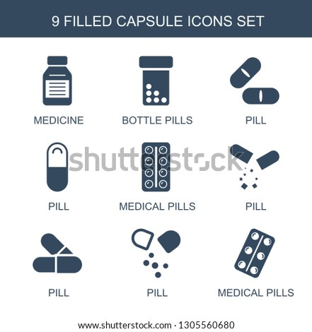 capsule icons. Trendy 9 capsule icons. Contain icons such as medicine, bottle pills, pill, medical pills. capsule icon for web and mobile.