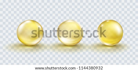 Capsule of vitamin E, A or golden oil pill set isolated on transparent background. Gold bubble, yellow glass ball template collection. Vector serum drop or collagen essence with shadow.