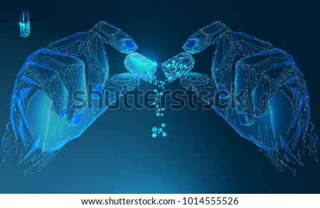 Capsule pill and molecules in the hand. Health Care Vector illustration. Medical concept. Banner. Low poly vector illustration of a starry sky or Cosmos.