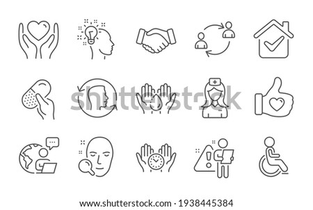 Capsule pill, Disabled and Safe time icons set. Handshake, Face search and User communication signs. Vector