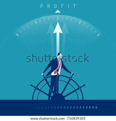 Captain. Businessman leads ship toward profit. Business concept vector illustration.