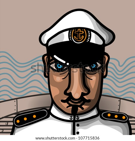 captain in the bridge of its boat with graphic waves in the background