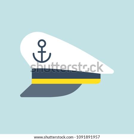 Captain sailor hat icon, flat design vector