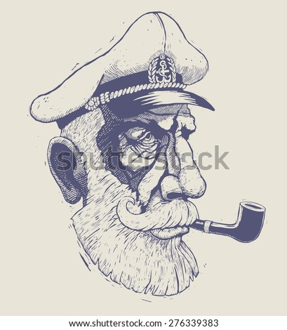 captain, sea-dog. engraving style. vector illustration