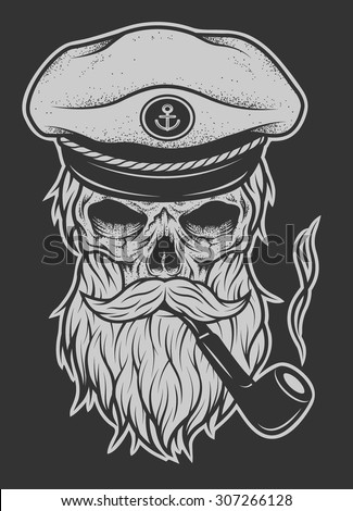 Captain Skull in a hat with a beard and a tobacco pipe.