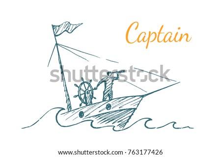 captain the leader sails on a