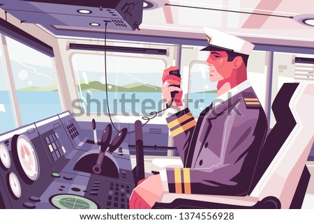 Captains cabin on ship vector illustration. Ferry boat pilot command berth with captain operating machine and talk into radio set flat style concept. View on beauty seascape Сток-фото ©