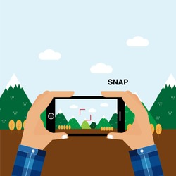 Capture the moment from smartphone on vacation time. Taking a photo from horizontal mobile phone. Mountain flat illustration view.