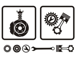 Car absorber, brake, engine repair icons.