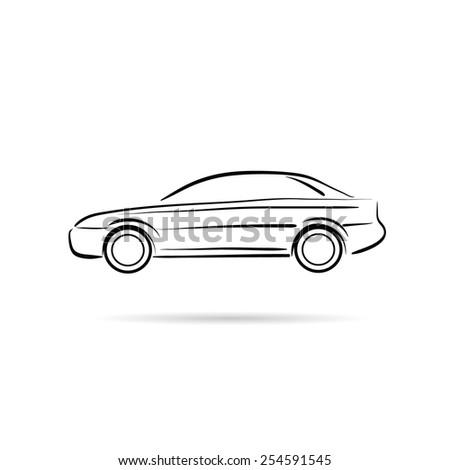 Car abstract lines vector design concept