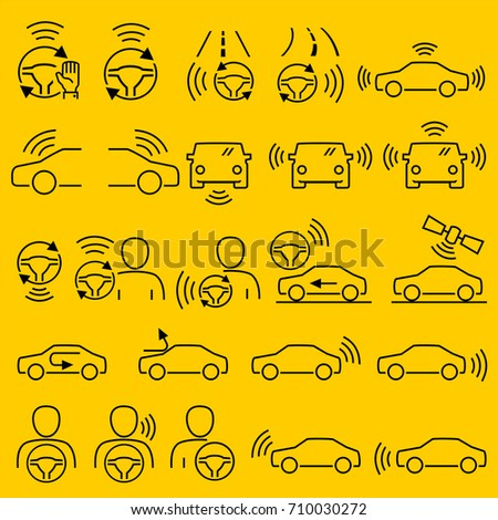 Car accessory navigation system icons outline vector