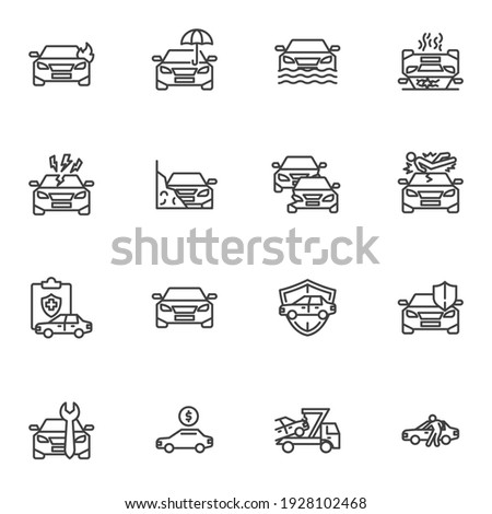 Car accident line icons set, auto insurance outline vector symbol collection, linear style pictogram pack. Signs, logo illustration. Set includes icons as car insurance, auto policy, flood coverage