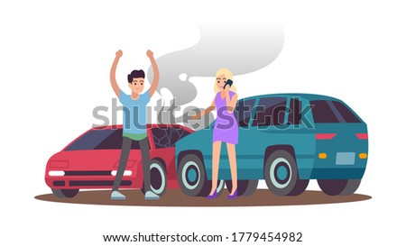 car accident man and woman