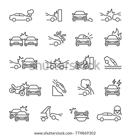 car accident related icons