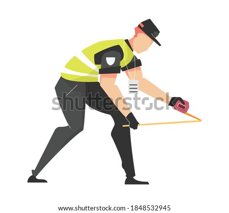 Car accident set flat composition with faceless character of road police officer with tape measure vector illustration Foto stock ©