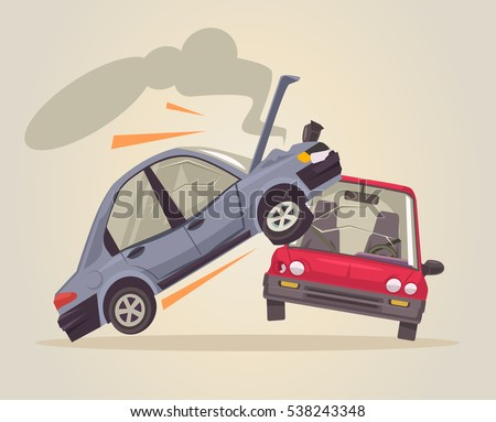 Car accident. Vector flat cartoon illustration