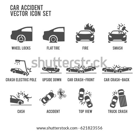 Vector Images Illustrations And Cliparts Car Accident Vector Icon Illustration Included The Icons As Smash Flat Tire Wheel Lock Crash Upside Down Fire Truck Crash And More Hqvectors Com