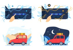 Car air conditioner vector illustration set. Cartoon flat human hand controlling temperature conditions inside auto car, using buttons digital dashboard, air conditioned automobiles isolated on white